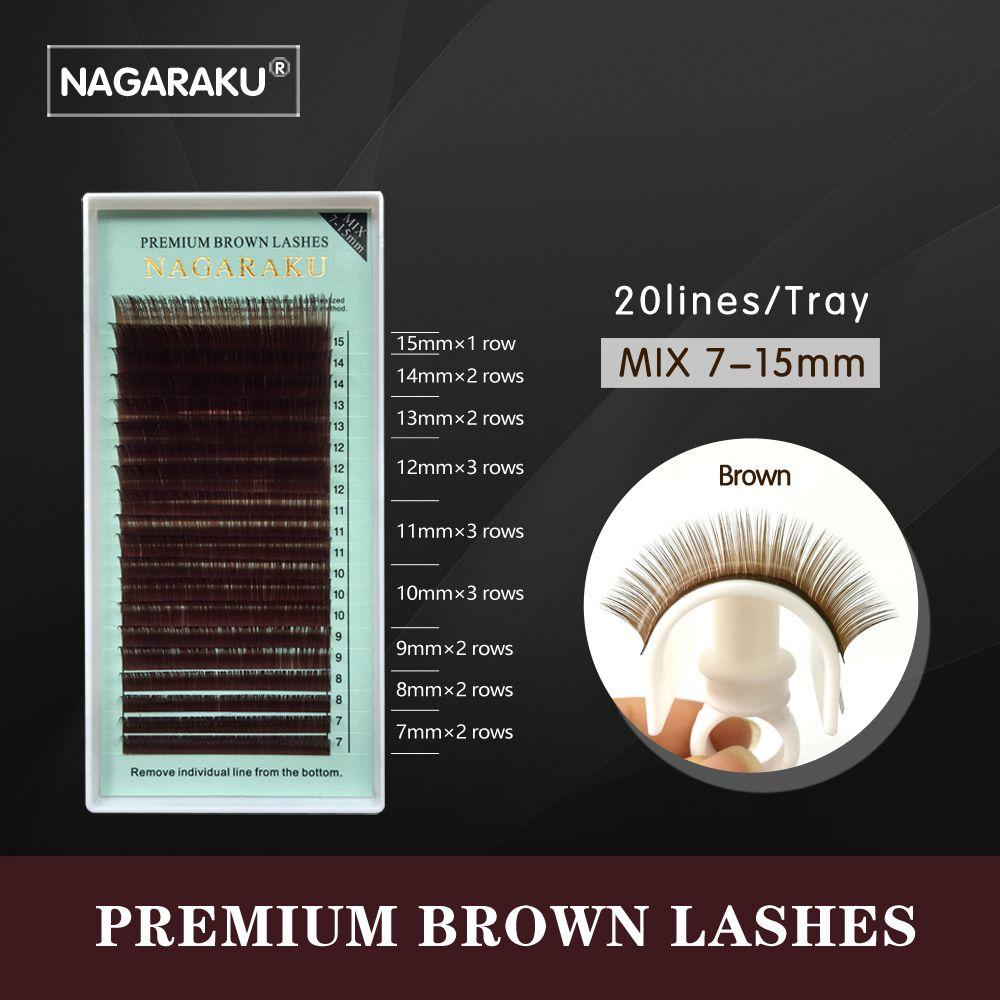 NAGARAKU mezcla 7 ~ 15mm, brown extensión de la pestaña, marrón pestañas, pestañas marrones. Faux Visón Pestañas Falsas