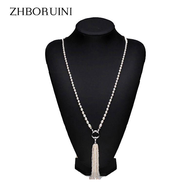 ZHBORUINI Mode Lange Multilayer Perle Halskette Süßwasser Perle Quasten Frauen Zubehör Aussage Halskette Schmuck Für Frauen