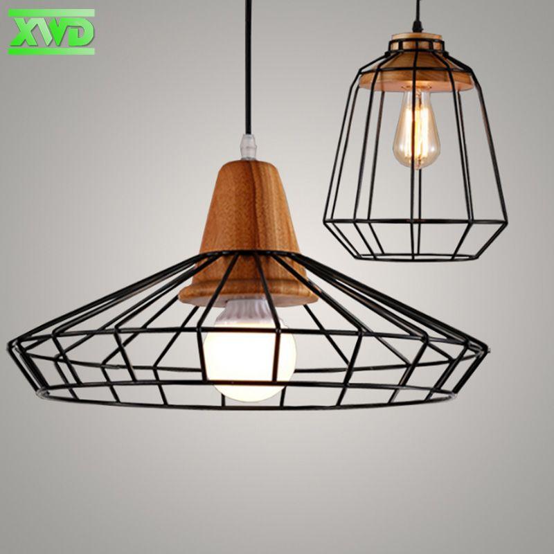 Vintage Iron Wood <font><b>Indoor</b></font> Pendant Lamp Bar/Coffee House/Bookshop/Dining Room/Foyer Decoration Lighting Lamp,Dinning Lights DU50