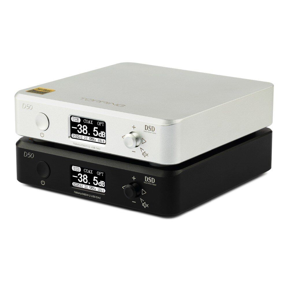 NEW TOPPING D50 MINI HIFI AUDIO Decoding ES9038Q2M *2 USB DAC XMOS XU208 DSD512 32Bit / 768Khz OPA1612 USB/OPT/COAX input