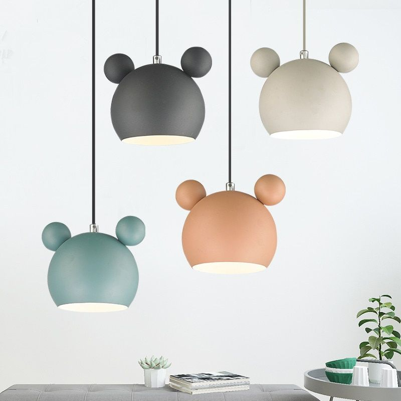 Cute Mickey Iron pendant lights lamps Cheap kid's room child metal hanging light dining room loft cafe nordic suspended lamp
