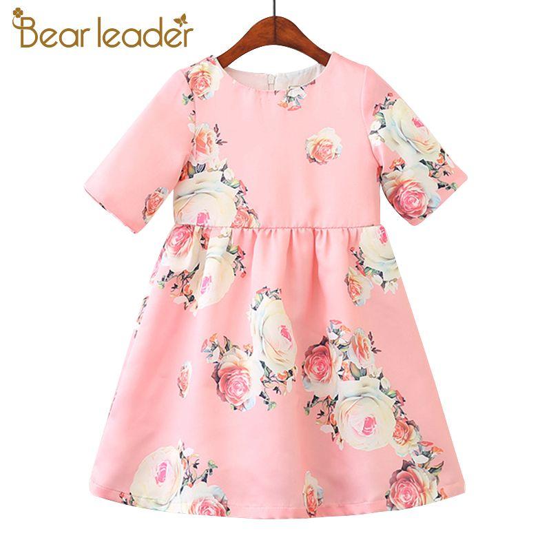 Bear Leader Girls Dresses 2018 New Brand Princess Clohting Printing Flower Short-sleeve Sweet Dresses For 3-8 Years' Baby Girls