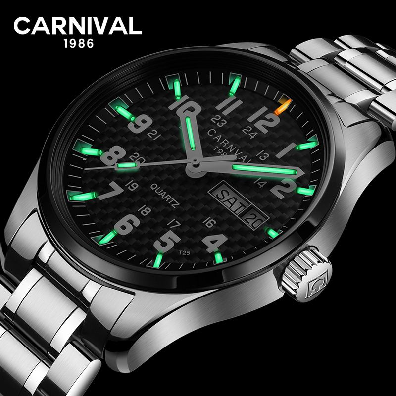 Carnival T25 Tritium Gas Luminous Quartz Watch Men Fashion Full Stee Waterproof Sapphire Crystal Wrist Watches reloj hombre saat