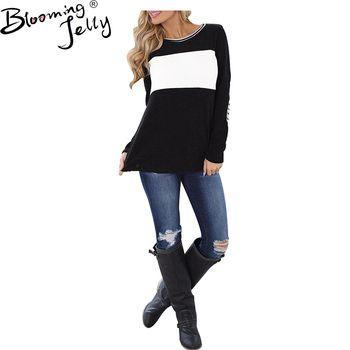 Цветущие желе флисовая ткань Для женщин топы черный, белый цвет одежда с длинным рукавом блузки Blusas Femininas блузки модные элегантные топы нови...