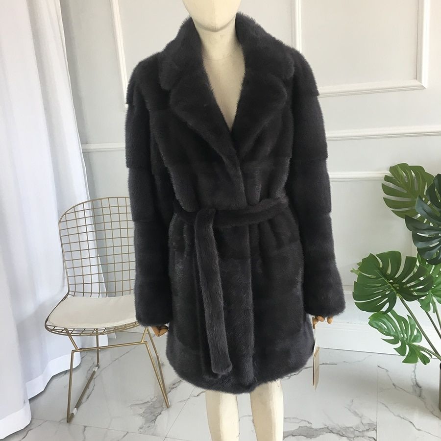 Real Mink Fur Women Medium long Coat Female Mink fur Coat with turn down collar real mink fur bel natural fur Jacket 90 cm