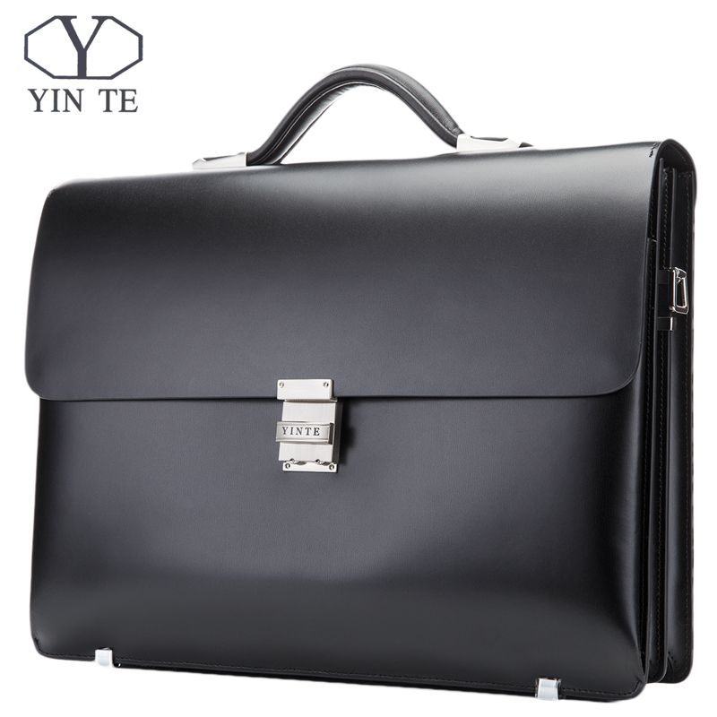 YINTE Leather Briefcase Black Men's Business Leather Bag High Quality Totes Lawyer Bag 14 Laptop Handbag Case Portfolio T8553-5