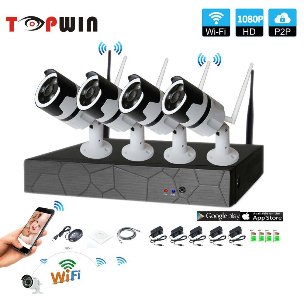 4CH two way audio talK HD Wireless NVR Kit P2P 1080P Indoor Outdoor IR Night Vision Security 2.0MP IP Camera WIFI CCTV System