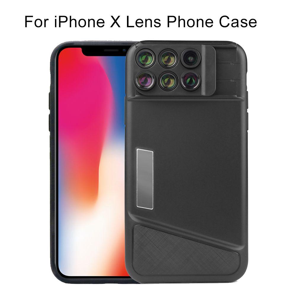 Double objectif de caméra pour iPhone X XS Max étui Fisheye grand Angle Macro objectif pour iPhone XS Max étui housse télescope lentille 6 en 1