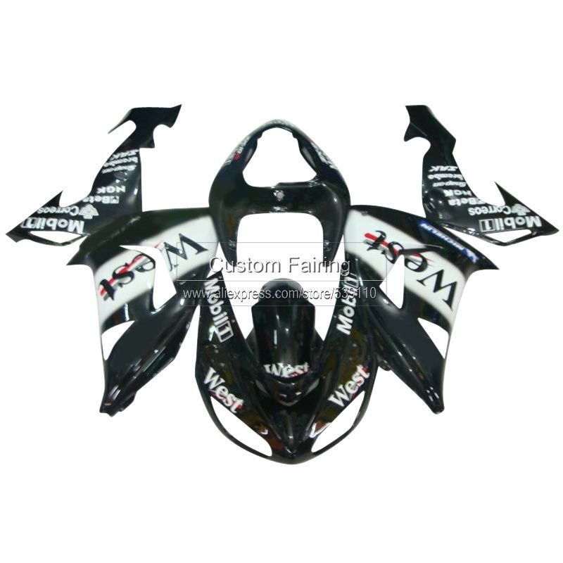 Black Bodywork kits for Kawasaki ZX10R Ninja zx 10r 2007 2006 WEST sticker 07 06 fairing kit fairings xl32