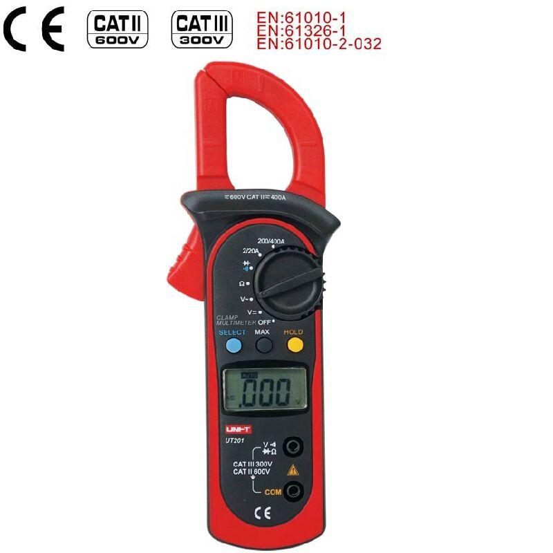 Pince numérique multimètre UNI T UT201 400A gamme automatique ampèremètre AC 600 V AC/DC voltmètre ohmmètre 1999 compte Diode mesure