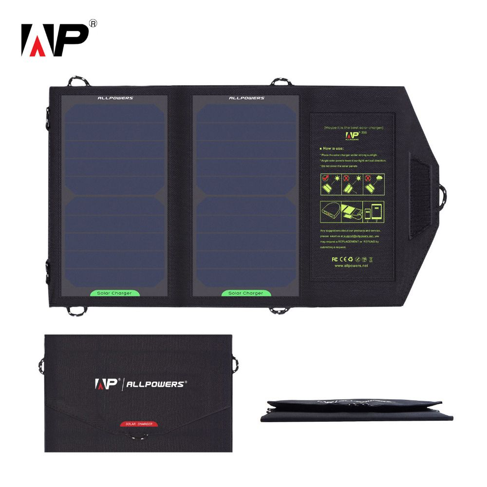 ALLPOWERS 5V 10W Solar Charger SunPower Solar Panel Outdoor Portable Power Bank Charger for Smartphone