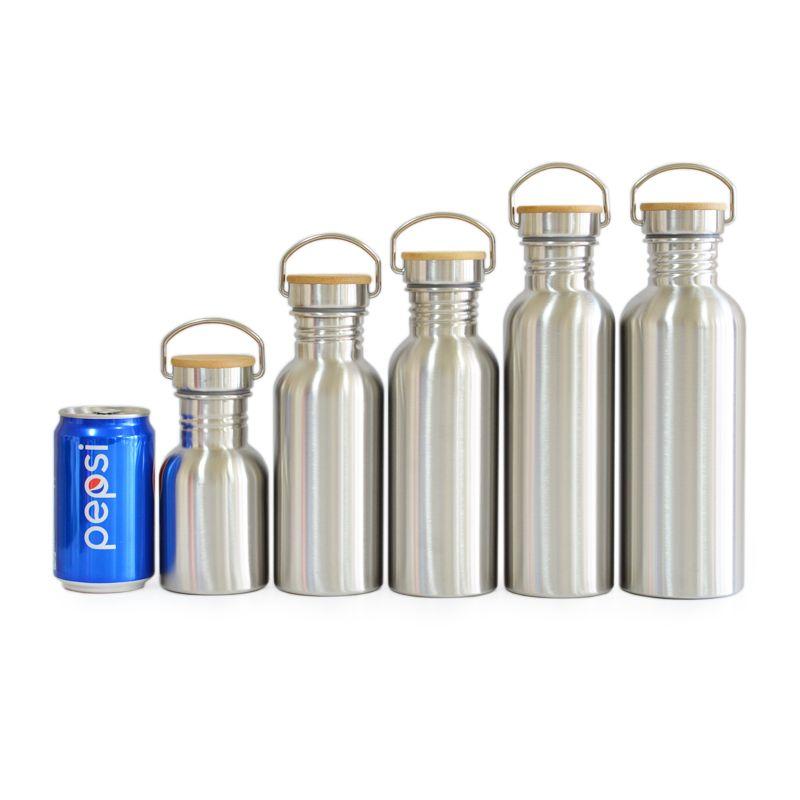 SANS BPA Bouteille D'eau En Acier Inoxydable Couvercle En Bambou Flacon de Sport anti-Fuite Pot à Nourriture pour Voyage Yoga Cyclisme Randonnée camping