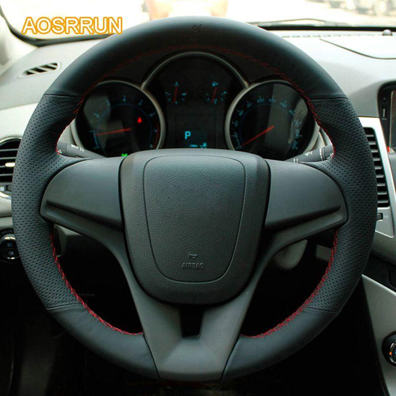 AOSRRUN genuine leather car steering wheel cover Car accessories For Chevrolet Cruze sedan hatchback 2009 2010 2011 2012 2013