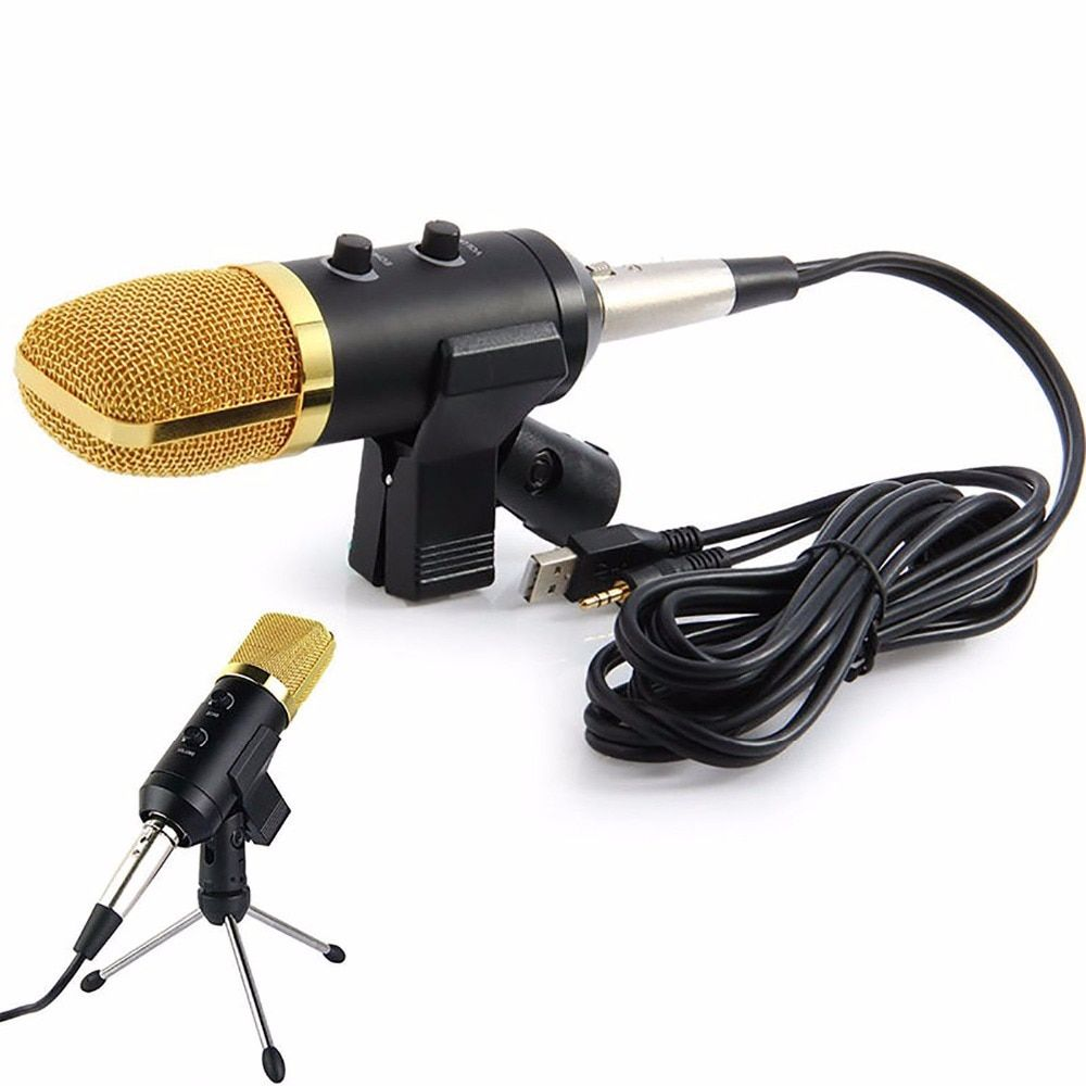 Volemer MK -F100TL Wired Microphone USB Condenser Sound Recording Mic with Stand for Chatting Singing Karaoke Laptop Skype