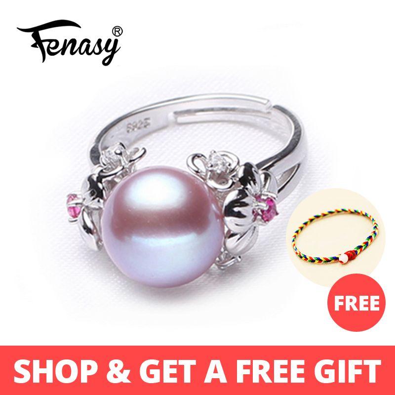 Bijoux en perles FENASY 10-11mm, bagues en perles naturelles pour l'amour, bague en argent 925 avec perle d'eau douce, bagues en argent rubis pour femmes boîte-cadeau