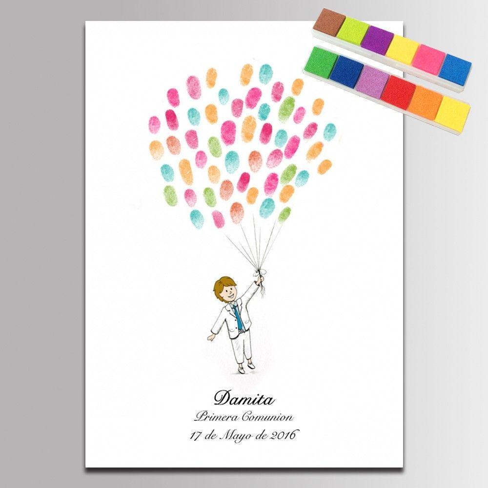 Huella digital Del Bebé Ducha Libro de Invitados de la Comunion Chico Encantador con Decoración Del Partido Globos de Pintura para Niños de Cumpleaños Regalo de Comunion