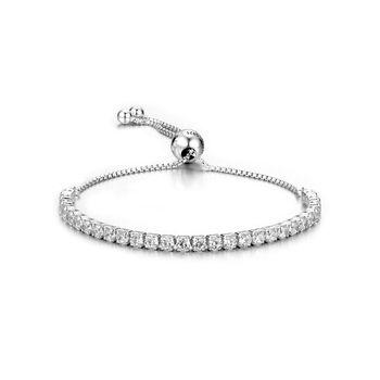 L'APB1 mode femmes bracelet en argent sterling réglage bracelet avec pierre blanche pour le cadeau s925 argent bracelet