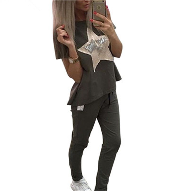 TAOVK Summer Women casual suits short sleeve t-shirt and pant 2-piece set