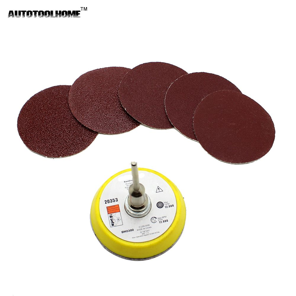 AUTOTOOLHOME 51PC Mix Grit 2 inch 50mm Sander Disc Sand Paper Sanding Pad Plate 60 80 120 150 180 Grit For Dremel Accessories