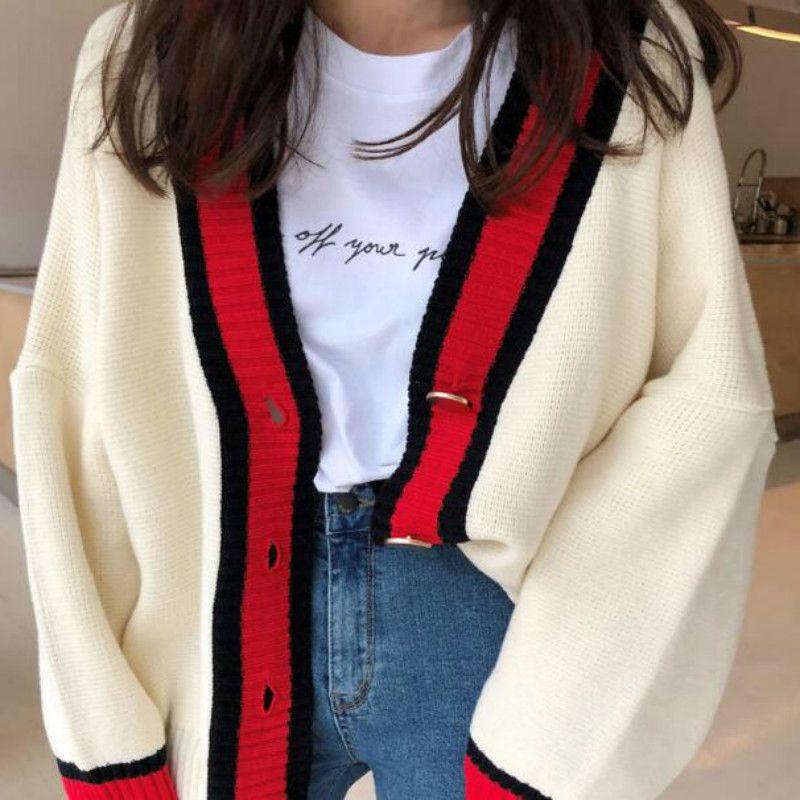 Femmes automne col en v patchwork cardigan chandail manteau blanc lâche grande taille à manches longues pull femme jersey tricoté hauts