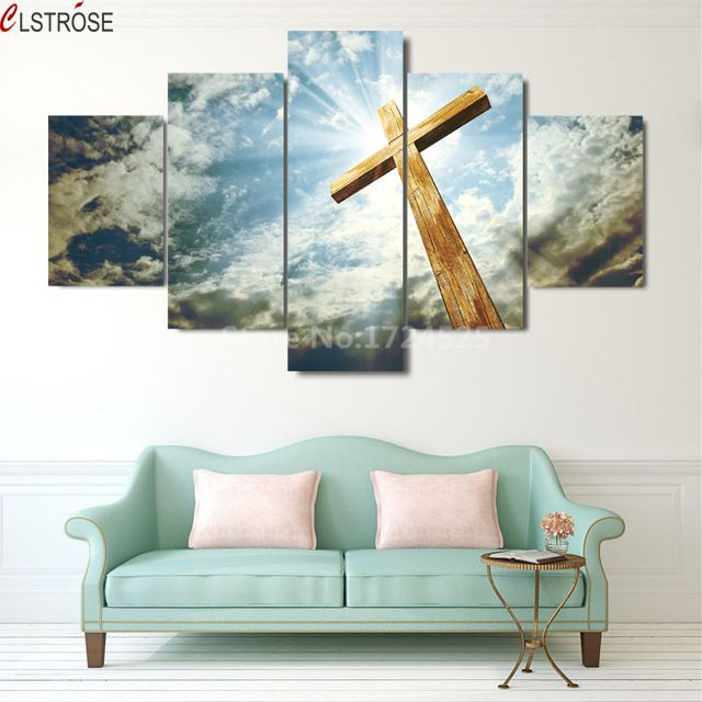 CLSTROSE No Framed 5 Pieces Art Canvas Prints Christians Are Heaven Cuadros Decoracion Modern Home Decor Pictures In Cheap Price