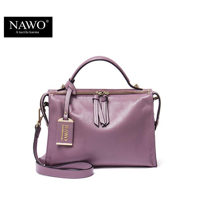 NAWO Zipper Women Genuine Leather Bag Women's Messenger Bags Tote Handbags Women Famous Brands High Quality Shoulder Bag Ladies