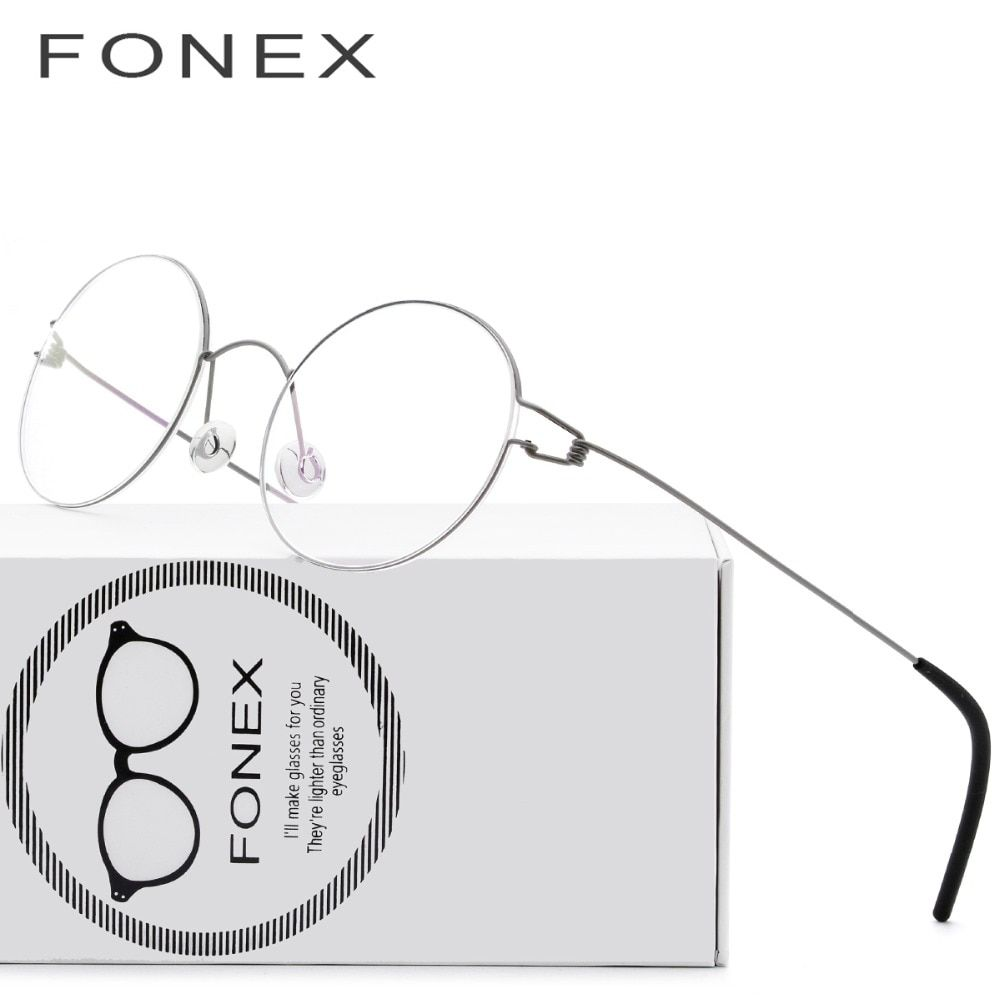 Screwless Eyewear Prescription Eyeglasses Women <font><b>Ultralight</b></font> 2018 Round Myopia Optical Denmark Korean Glasses Frame Men Titanium