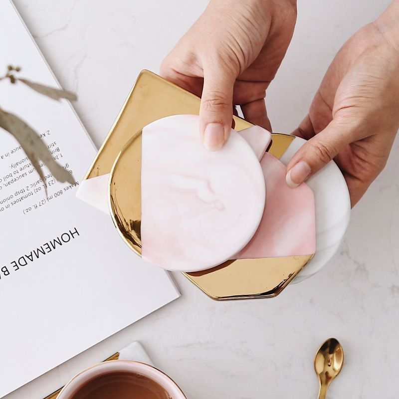 Luxury Unique Marble Pink Gold Ceramic Placemat Coaster Porcelain Mats Pads Table Decoration Accessories Kitchen Tool Gift