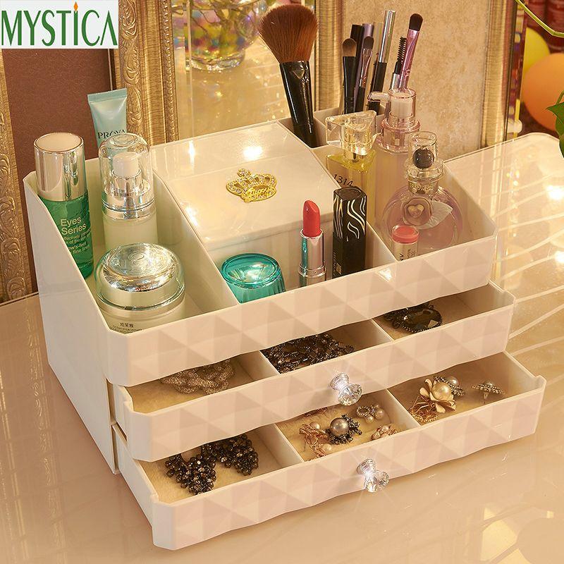 NOUVEAU MYSTICA ABS trois couches En Plastique Maquillage Tiroirs boîte de rangement Contenant de Bijoux maquillage Organisateur Cas Cosmétique Bureau Boîtes