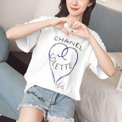 TEAEGG à manches Courtes T-shirt 2018 Nouveau modèle lâche et confortable joker Loisirs Étudiant amour impression Basant La chemise km704