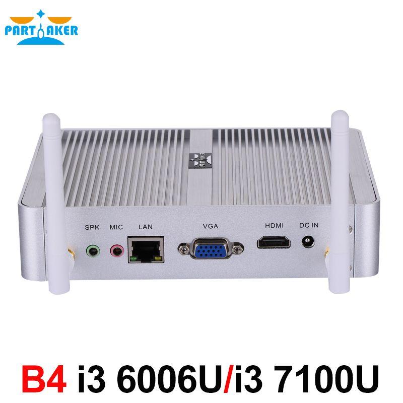 Newest Intel 14nm i3 6006U i3 7100u Fanless Mini PC HTPC Mini Pc with HDMI VGA