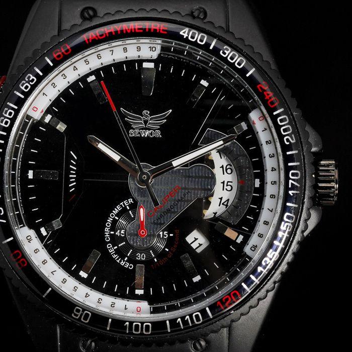 2016 Top Marque De Luxe SEWOR Montre-Bracelet Cas de Tachymètre Auto Date Cadran Automatique Auto-Vent Mécanique Rubber Band Sport Homme montre