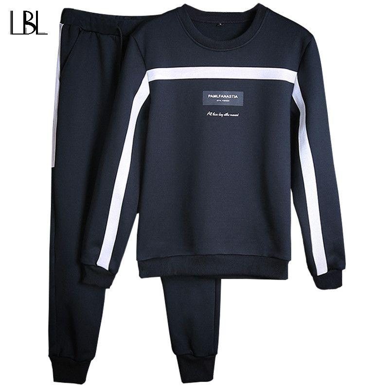 Tracksuits Men Winter 2018 Tracksuit Set Solid Sweat Suit Men <font><b>Track</b></font> Suits Set Coat+Pants Outwear SportsSuit Jacket and Sweatpant