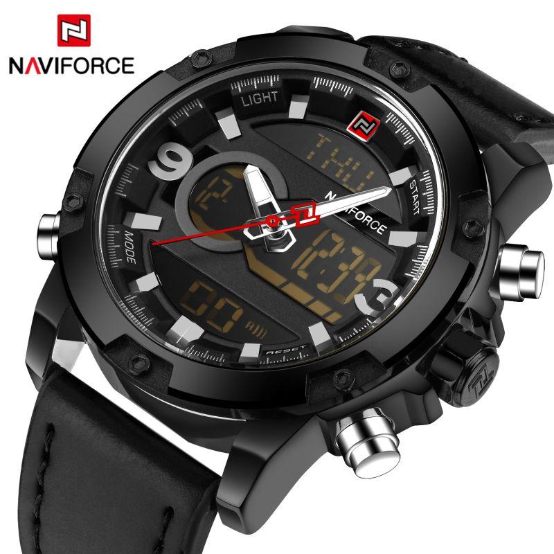 Luxury Brand <font><b>Naviforce</b></font> Analog Led Watches Men Leather Quartz Clock Men's Military Sport Waterproof Wrist watch Relogio Masculino