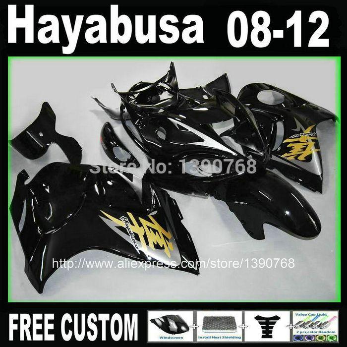 Injection mould fairing kit for SUZUKI Hayabusa fairings GSXR1300 2008-2014 all glossy black set 08-14 TX37