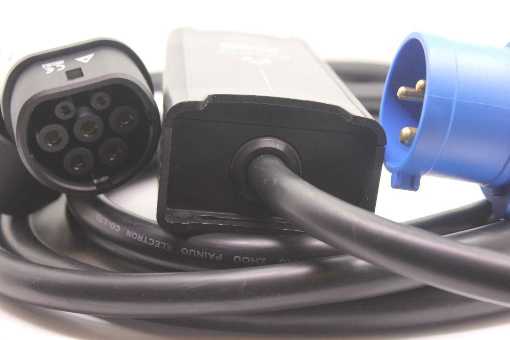 Tragbare EVSE 8A 10A 16A 3 pin cee-stecker IEC62196 Typ 2 mit 5 Mt kabel für Elektrische Kfz-lade und Inländischen lade EV ladegerät