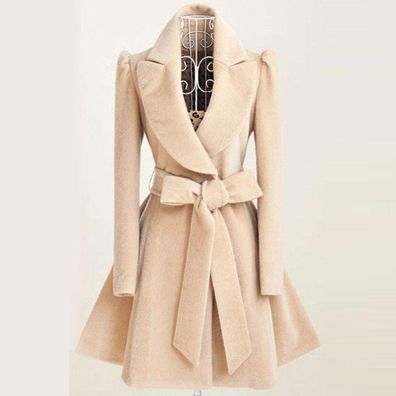 2017 Women Autumn Winter Coats Jackets Warm Woolen Blends Vintage Dress Coat With Belt Slim Skirt Swing Long Windbreaker Jacket