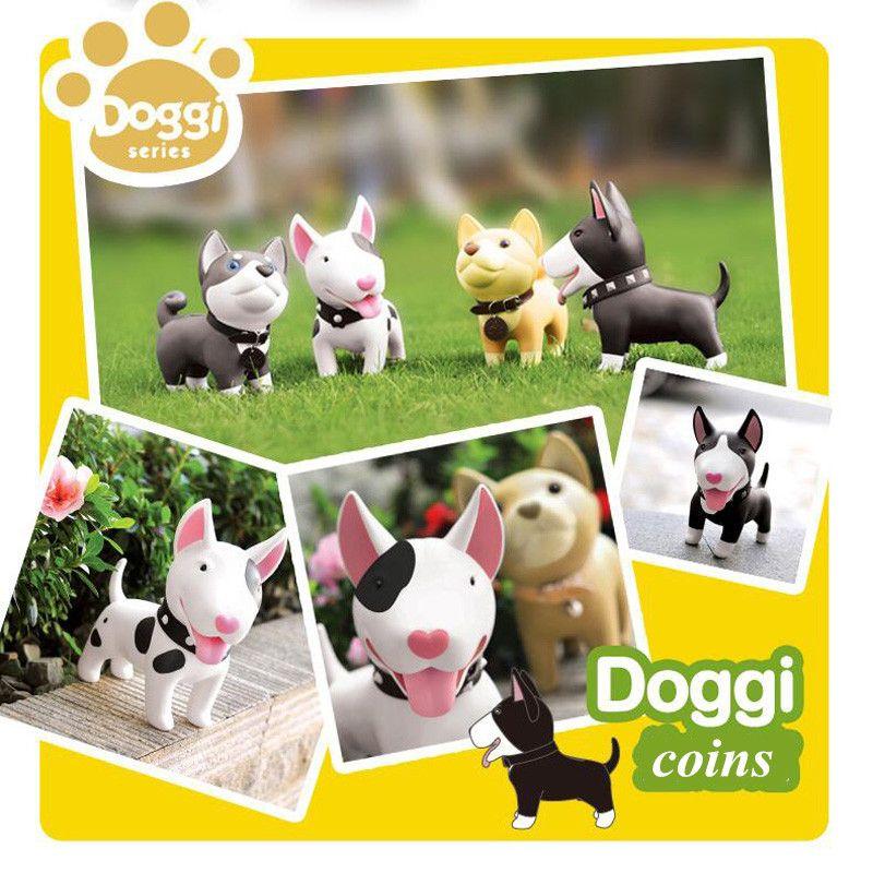 Luxury Dog Piggy Bank Cartoon Doggy Figurines Artware PU Huskies Money Box Leather Kid Cash Box Birthday Gift Free Shipping