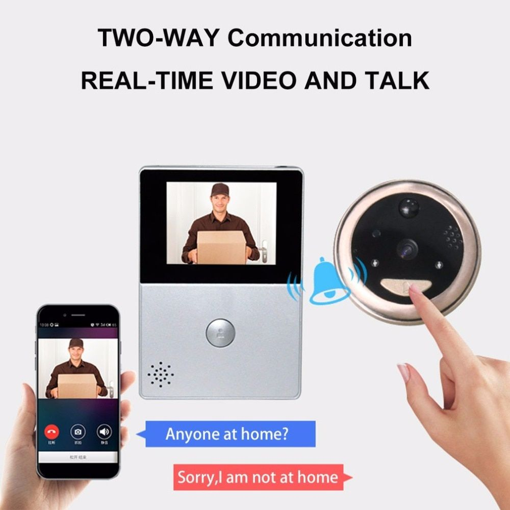 2.8 Inch LCD Wifi Peephole Wireless APP Smart Video Doorbell Night Vision HD Camera Door Intercom video-eye Support TF Card