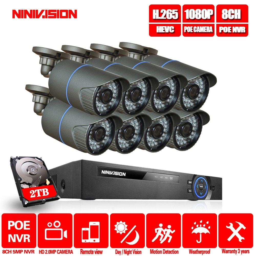 8CH CCTV System 4MP 5MP PoE NVR Metall Outdoor 2.0MP IP Kamera System Onvif Wolke 1080 NVR KIT Motion Erkennen nacht Vision NINIVIS