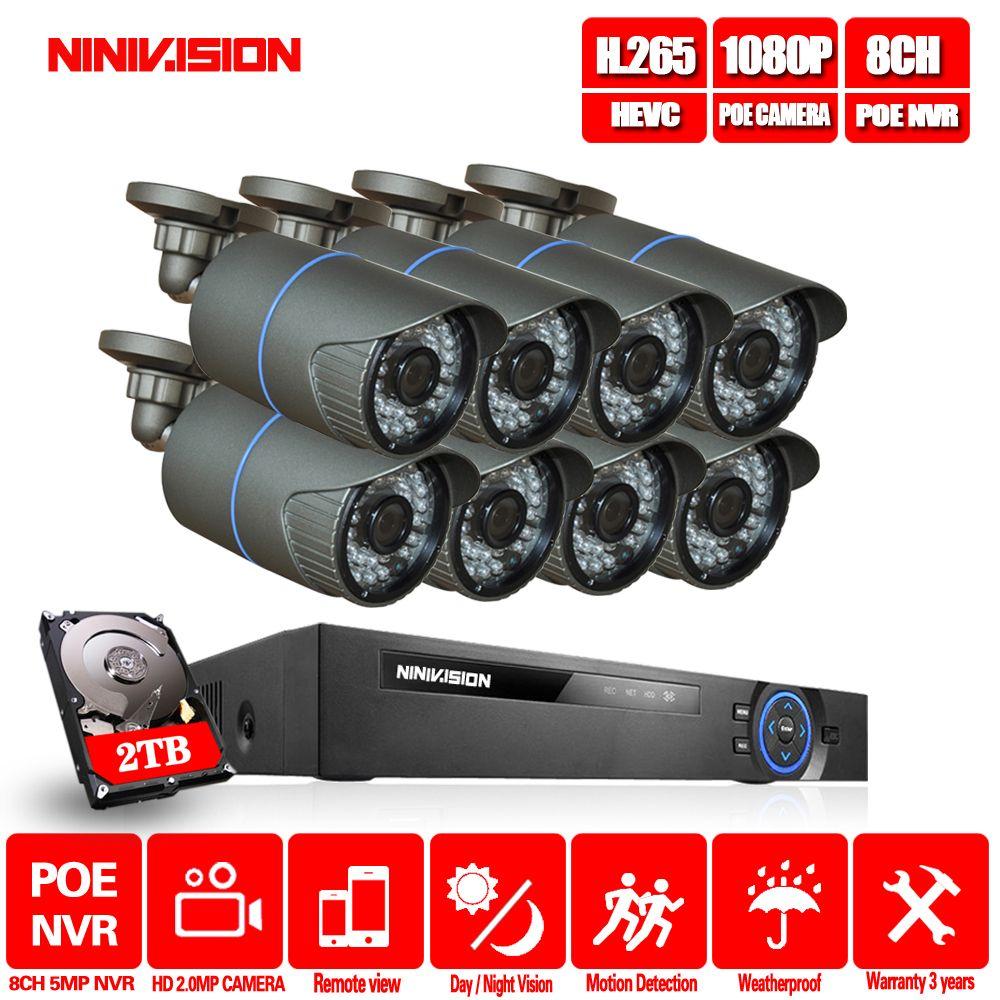 8CH CCTV System 4MP 5MP PoE NVR Metall Outdoor 2.0MP IP Kamera System Onvif Wolke 1080 NVR KIT Motion Erkennen nacht Vision NINIVIS