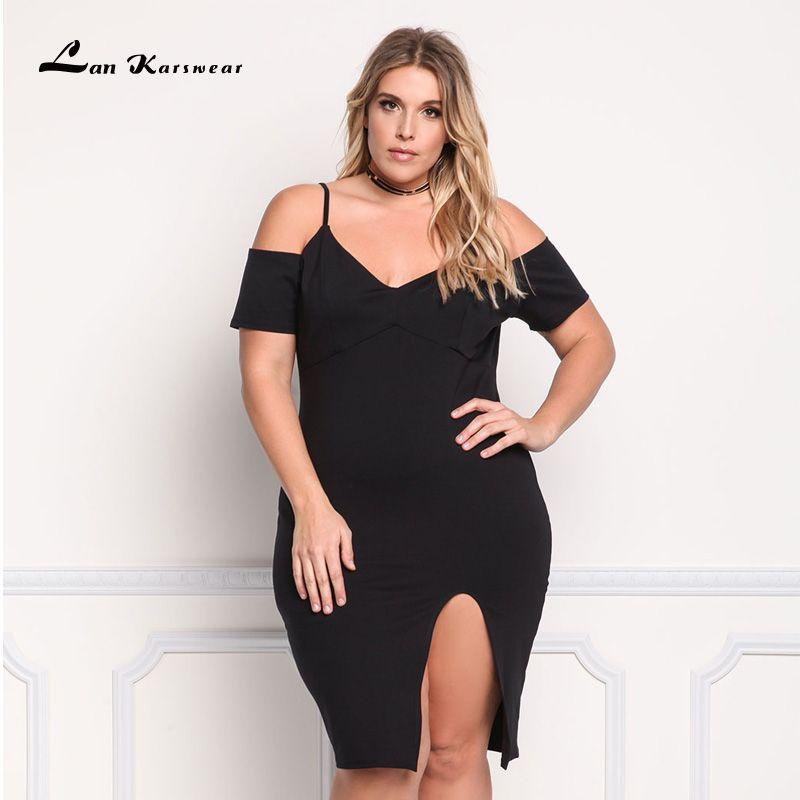 Lan Karswear 2018 Bodycon Dress Sexy Summer Short-sleeve Spaghetti V-neck Bandage Dresses Plus Size 3XL Vestidos Free Shipping