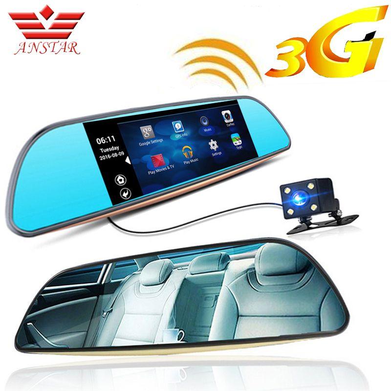 ANSTAR 3G FHD Dash Cam Voiture DVR Caméra GPS Enregistreur Vidéo Android 5.0 Bluetooth FM WIFI Double Lentille Rétroviseur Caméscope Dvr