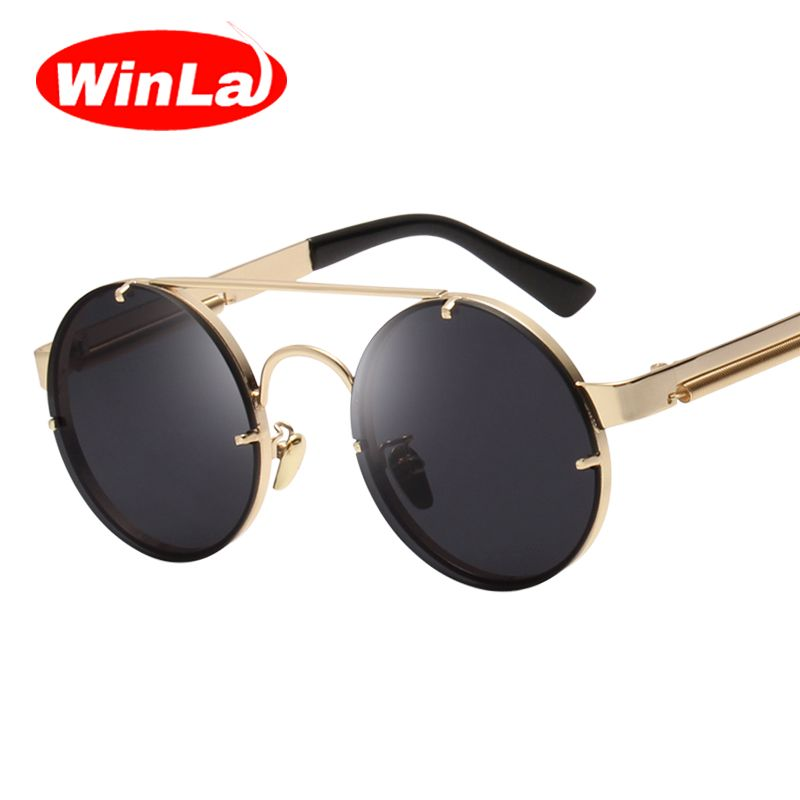 Winla Vintage Steampunk Sunglasses Men Goggles Round Sunglasses Women Brand Design Metal Frame Twin-Beams Glasses <font><b>Mirror</b></font> Shades