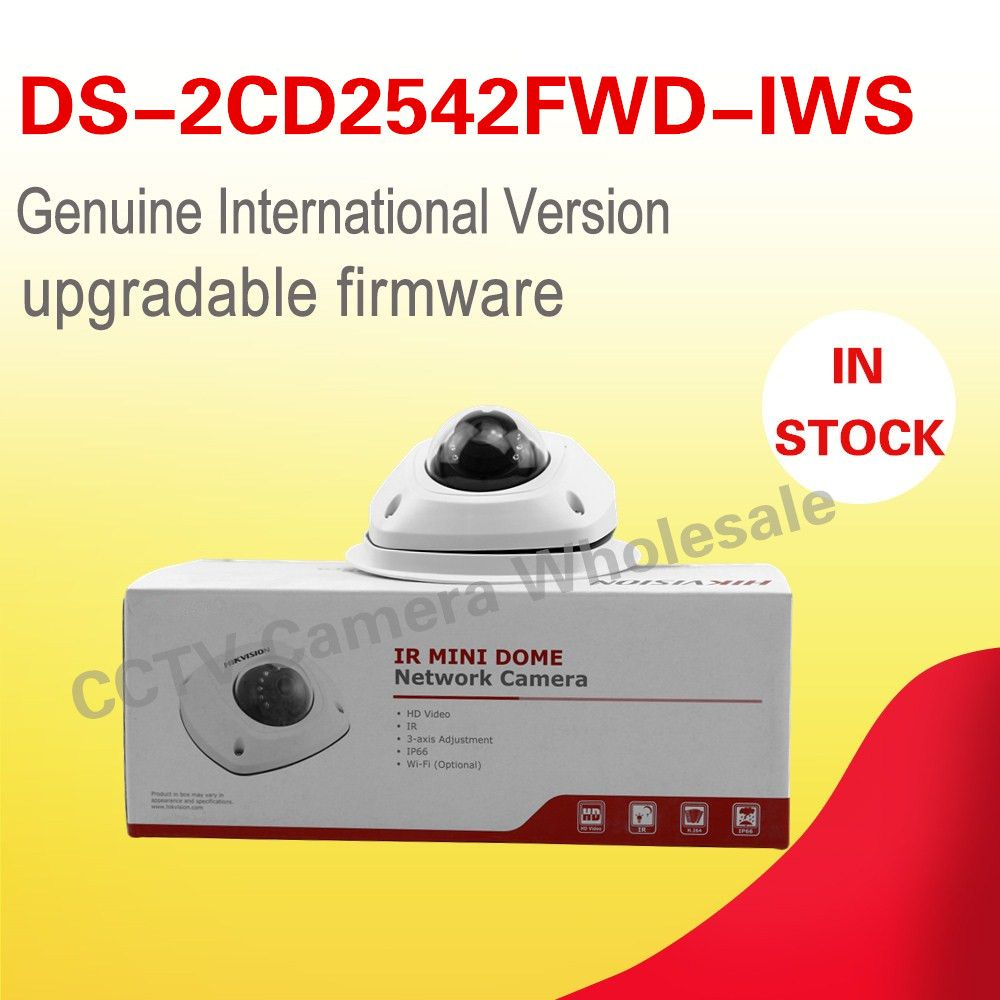 In stock Free shipping English version DS-2CD2542FWD-IWS two-way audio 4MP WDR mini WIFI dome network camera wireless with mic