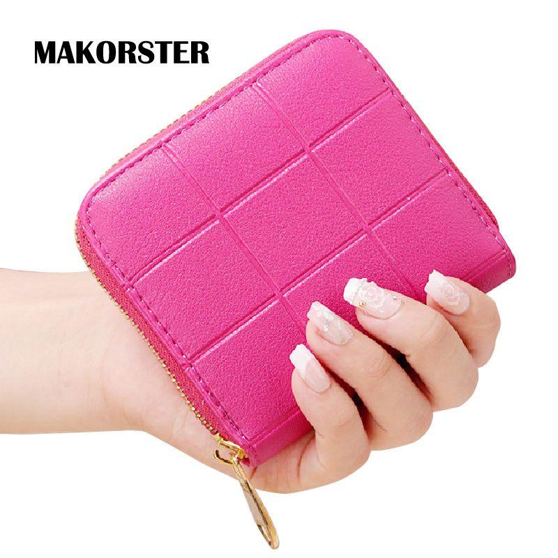 MAKORSTER Kurze Stil, Mode Brieftasche für damen Pu-leder geld Brieftaschen und portemonnaies 2016 weibliche Reißverschluss Plaid candy farbe DJ0148
