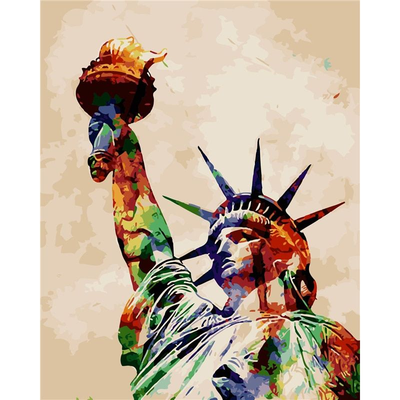 Frameless Wall Decor Pictures Painting By Numbers Hand Painted On Canvas Painting Statue Of Liberty Modern Abstract Oil Painting