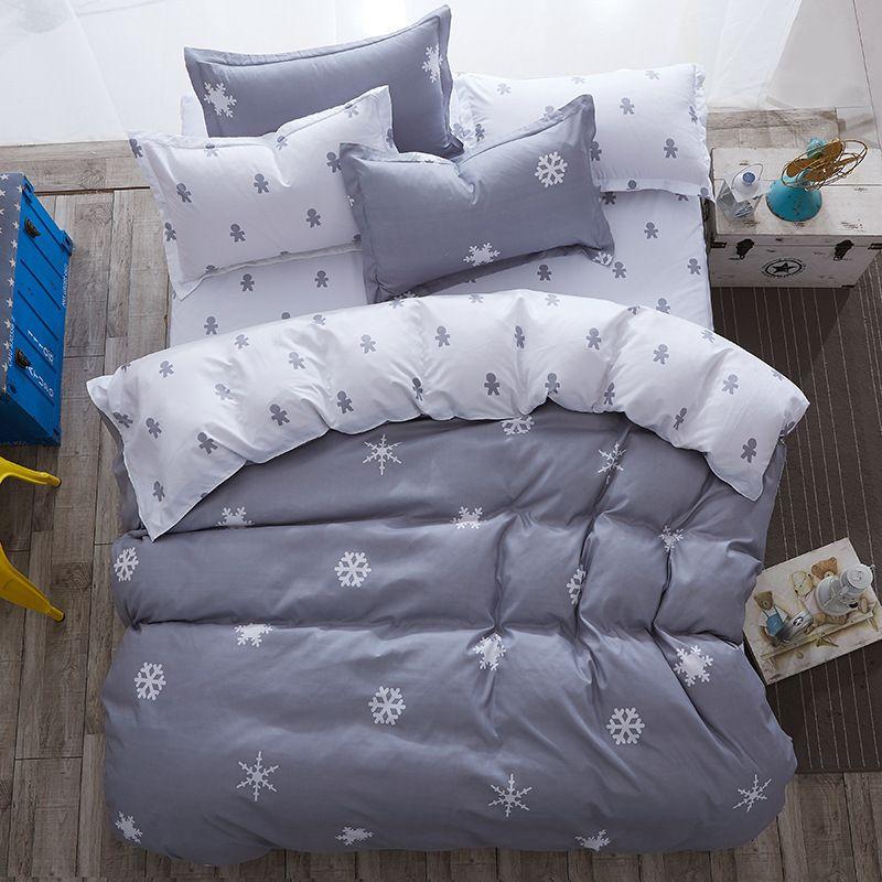 luxury Home textiles bedclothes snowflake Stripe 4pc/ 3pc christmas Bedding sets Cotton bed linen duvet cover housse de couette