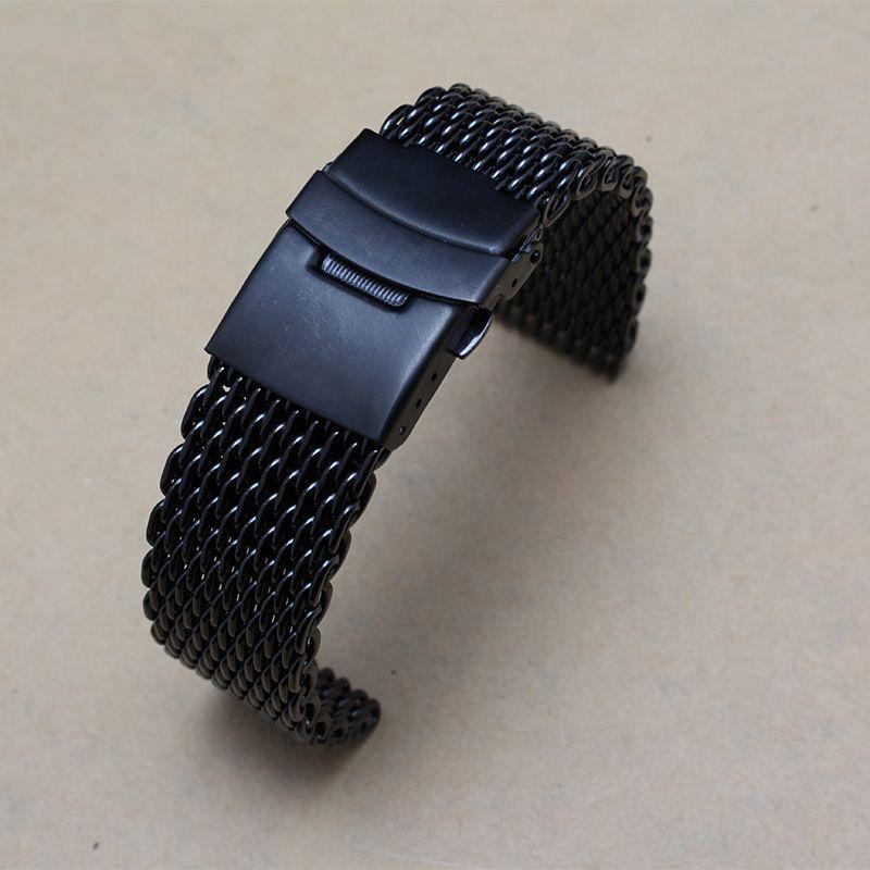 Новинка, модель высокого качества черного цвета с металлической сетки ремешок на браслеты с двойной страхование пряжки застежка 20 мм 22 мм Fit...