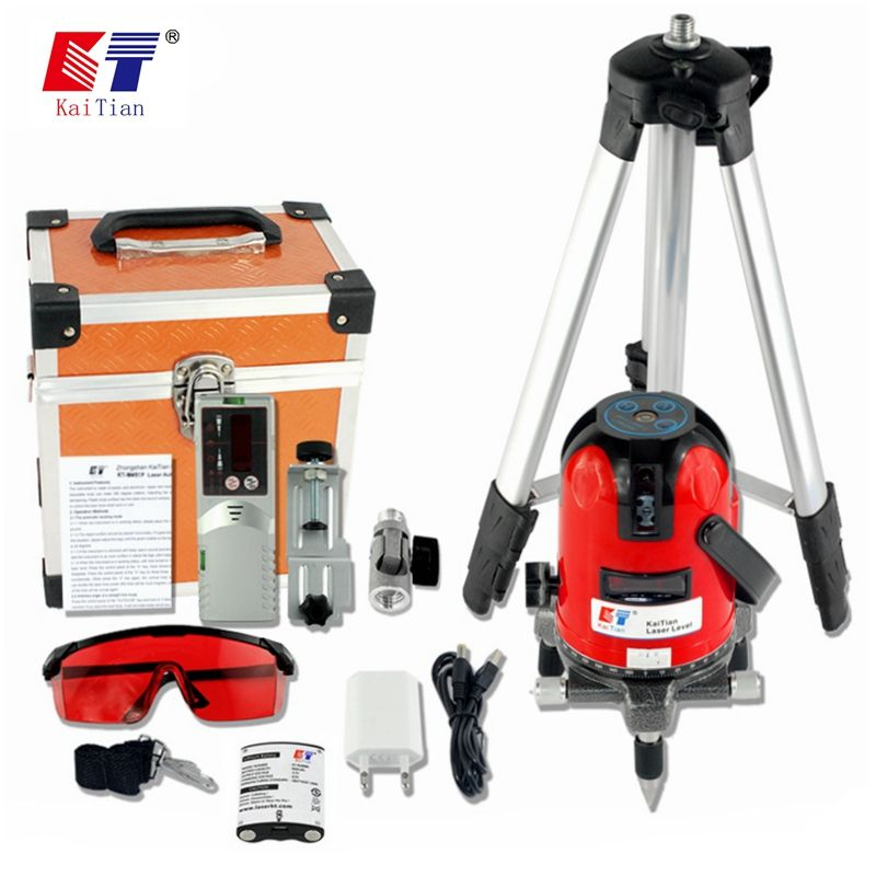 KaiTian Laser Level Tripod 5 Lines or <font><b>12Lines</b></font> 3D 360 Rotary Self-Leveling Lasers Beam Vertical Horizontal Cross Nivel Laser Tool